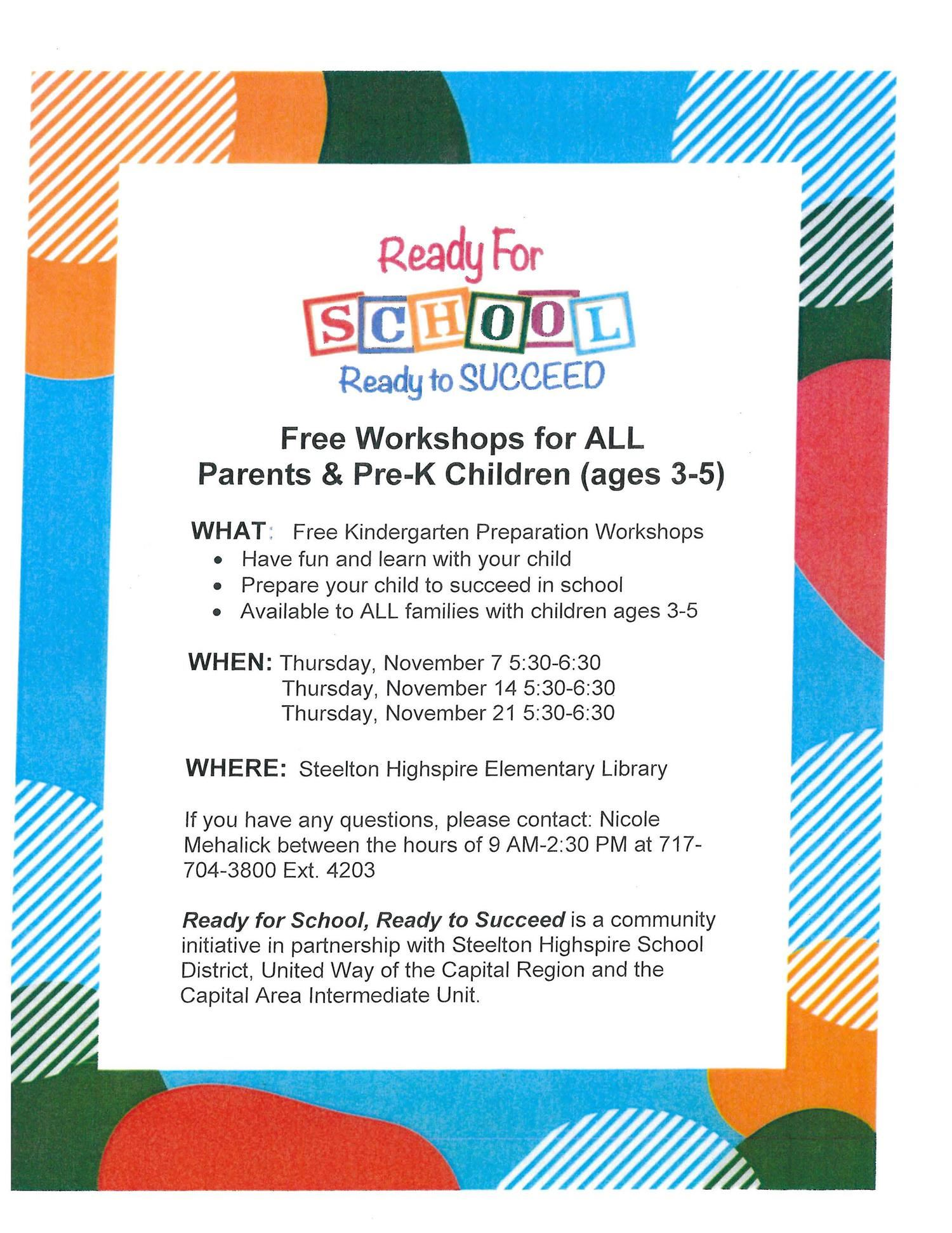 Ready for School Ready to Succeed Workshop Flyer
