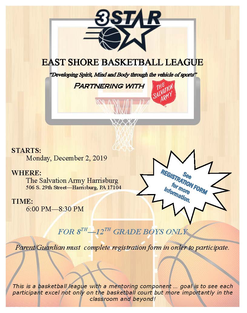 Salvation Army 2019-20 East Shore Basketball League Flyer