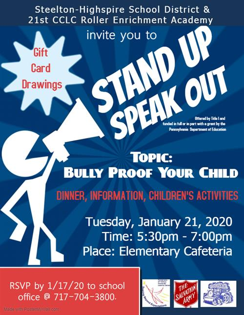 "Title 1 Parent Engagement Night ""Bully Proof Your Child"""