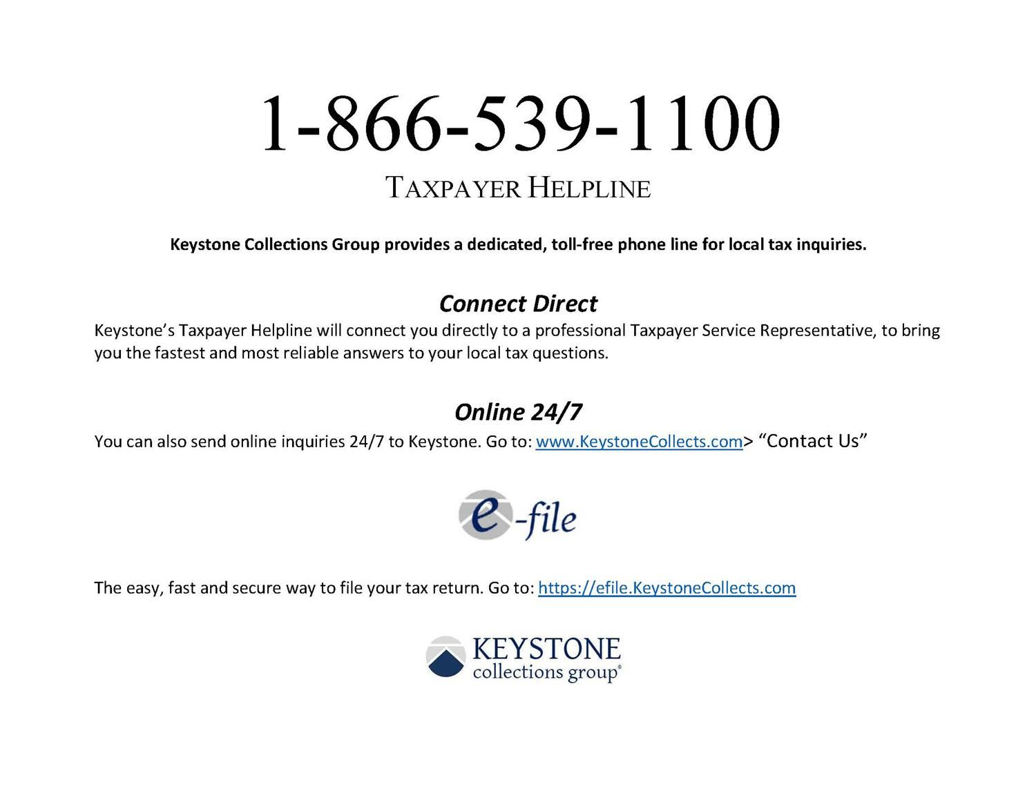 Taxpayer Hotline from Keystone Collection Group